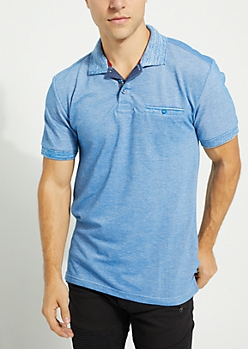Royal Blue Marled Single Pocket Polo