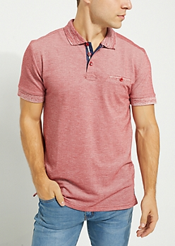 Burgundy Marled Single Pocket Polo
