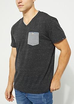 Black Short Sleeve Double V-Neck Pocket Tee