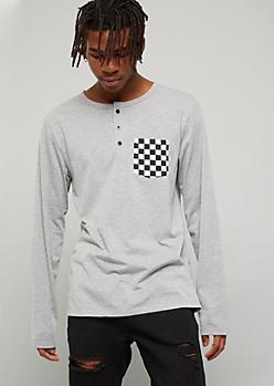 Gray Checkered Print Pocket Henley Tee