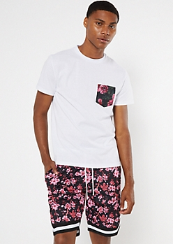 White Floral Print Pocket Tee