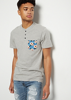 Heather Gray Tropical Print Pocket Henley Tee