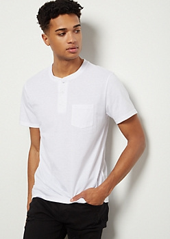 White Chest Pocket Henley Tee