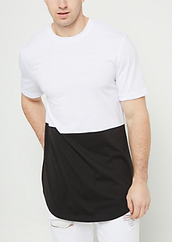 White Colorblock Long Length Tee
