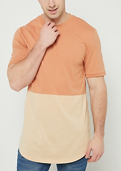 Burnt Orange Colorblock Long Length Tee