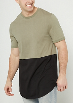 Olive Colorblock Long Length Tee