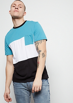 Teal Colorblock Chest Pocket Tee