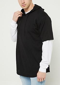 Black Burnout Short Sleeve Hoodie