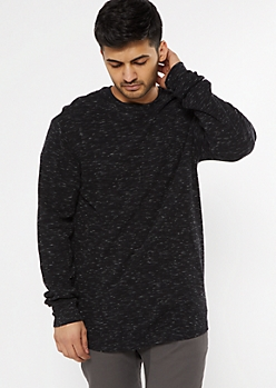 Black Space Dye Scoop Hem Thermal Top