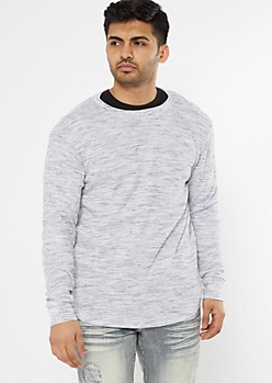 White Space Dye Scoop Hem Thermal Top