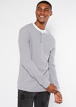 Heather Gray Thermal Henley Top