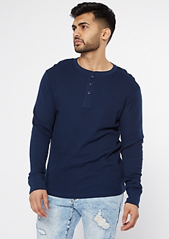 Navy Blue Thermal Henley Top