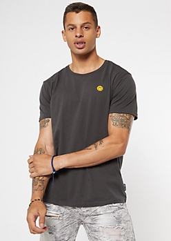 Black Embroidered Smiley Face Tee