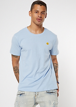 Light Blue Embroidered Smiley Face Tee