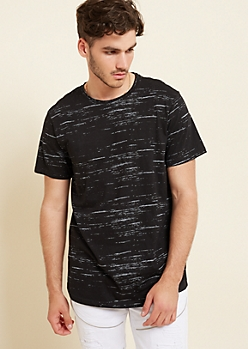 Black Streaky Space Dye Tee