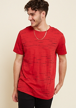 Red Streaky Space Dye Tee