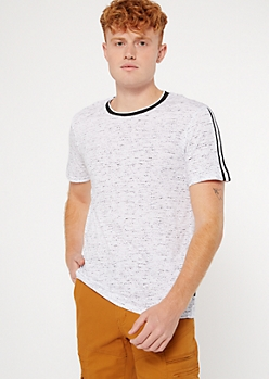 White Space Dye Side Striped Raglan Tee