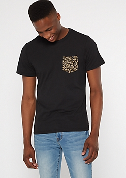 Black Leopard Print Pocket Tee