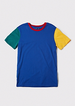 Blue Colorblock Ringer Tee