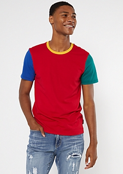 Red Colorblock Ringer Tee