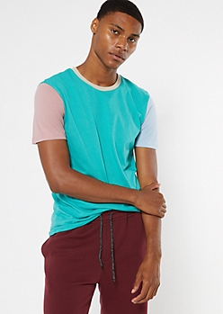 Teal Colorblock Ringer Tee