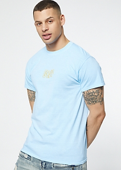 Blue Drip Pigment Dyed Embroidered Tee