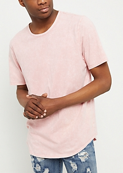 Light Pink Washed Long Length Tee
