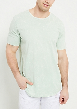 Olive Washed Long Length Tee