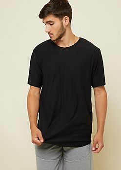 Black Slub Knit Long Length Essential Tee