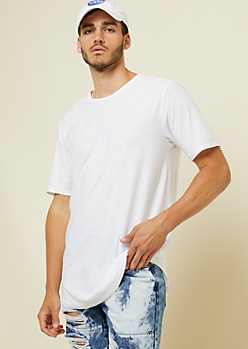 White Slub Knit Long Length Tee