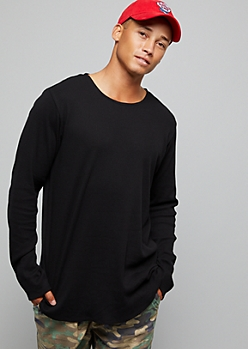 Black Thermal Crew Neck Long Sleeve Tee