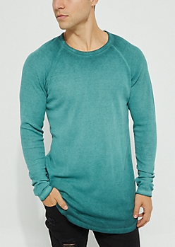 Teal Vintage Thermal Knit Long Sleeve Tee