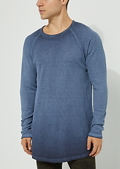 Navy Vintage Thermal Knit Long Sleeve Tee