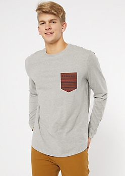 Gray Long Sleeve Border Print Pocket Tee
