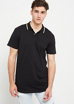 Black Varsity Stripe Trim Polo