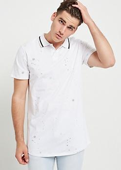 White Paint Splattered Varsity Stripe Trim Polo