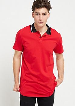 Red Varsity Stripe Trim Polo