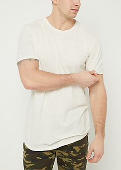 White Heathered Scoop Neck Tee