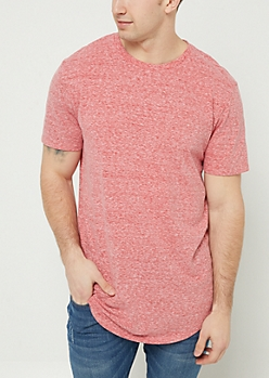 Red Heathered Scoop Neck Tee