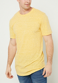 Yellow Heathered Scoop Neck Tee