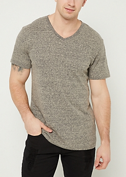 Charcoal Heathered V Neck Tee