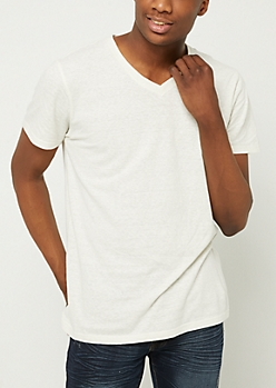 White Heathered V Neck Tee