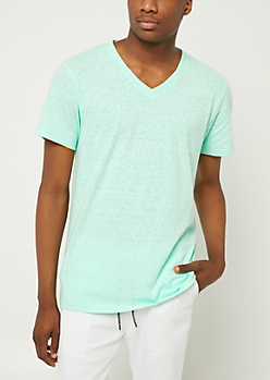 Mint Heathered V Neck Tee