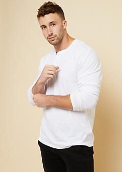 White Long Sleeve Henley Tee