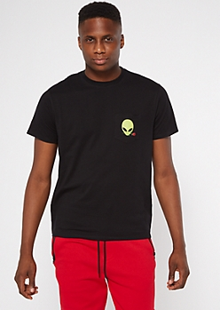 Black Alien Embroidered Pocket Tee