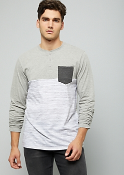 Gray Space Dye Colorblock Pocket Henley Tee