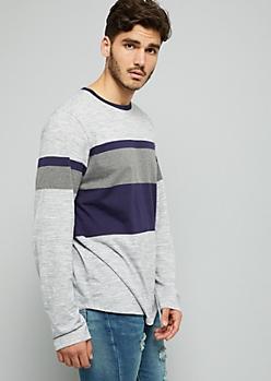 Gray Space Dye Varsity Striped Long Sleeve Tee