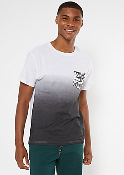 Black Dip Dye Tropical Print Pocket Tee