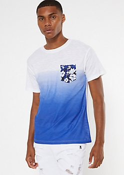 Blue Dip Dye Tropical Print Pocket Tee