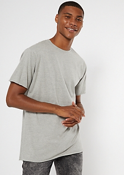 Gray Raw Cut Step Hem Tee